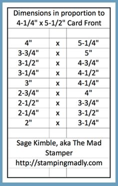 When you want equal margins around layers for your handmade cards, this chart will come in handy.  Especially if you make a Scored Frame Background.  Visit website for details and a video.