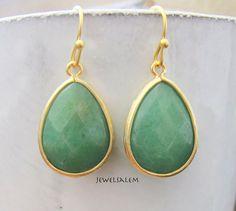 Aventurine Earrings Green Earrings Bridesmaids Gift by Jewelsalem