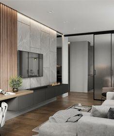 36 Amazing TV Wall Design Ideas For Living Room Decor ~ kliksaya. Loft Interior, Living Room Interior, Home Living Room, Living Room Decor, Kitchen Living, Nordic Interior, Studio Interior, Interior Doors, Modern Apartment Design