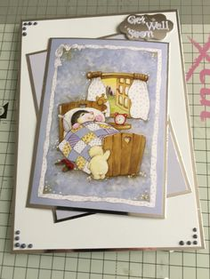 A5 get well soon card using Hunkydory's little book of patchwork forest, tattered lace dies and tonic nuvo glitter drops.