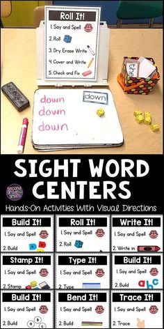 Sight Words Centers These hands-on sight word centers have been a game changer in my grade classroom! The clear, visual directions are perfect for beginning readers and ELLs. We use them in our literacy center rotations every week because they work wit Sight Word Centers, Word Work Centers, Word Work Stations, Teaching Sight Words, Sight Word Practice, High Frequency Words Kindergarten, Teaching First Grade, First Grade Reading, 1st Grade Writing