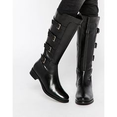 Ravel Multi Strap Knee High Leather Boots (7.495 RUB) ❤ liked on Polyvore featuring shoes, boots, black, side zip boots, black round toe boots, low heel knee high boots, black knee length boots and leather boots