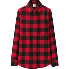 UNIQLO Women Disney Project Flannel Long Sleeve Shirt ($30) ❤ liked on Polyvore featuring tops, uniqlo, red top, red long sleeve top, longsleeve shirt and flannel tops
