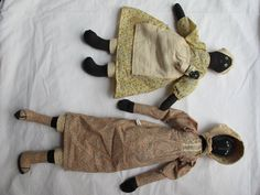 "Two Antique Fairfield Folk Art Dolls 16"" 23"" All Cloth Excellent Condition 