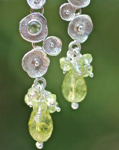 Green Peridot Earrings Silver Drop Earrings August by amyfine