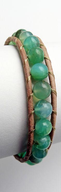 October Birthstone - Opal. Peruvian Blue Opal Stone Wrap Bracelet. Natural light brown leather. Opal Jewelry