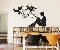 Vinyl Wall Decal Book Bookworm Library Bookstore School Stickers - Vinyl wall decals books