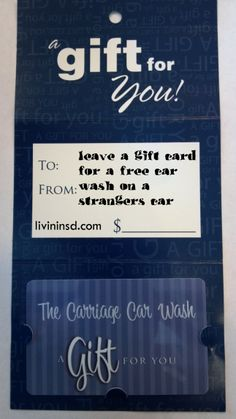 Leave a gift card for a free car wash on a strangers car.  Christmas 365: Day 38 - Livin in San Diego  Livininsd.com #payitforward #randomactsofkindness