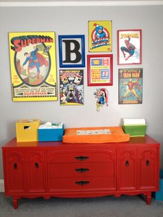 Superhero nursery, superhero collage, baby boy, red changing table from hand painted vintage furniture, baby stats, bold color baby boy room