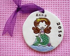 Personalized Children's Little Mermaid Ornament - Custom Made to Order on Etsy by Sunshine Ceramics