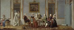 Interior with Cardplayers c. 1779 by Pehr Hilleström (Swedish, 1732-1816)