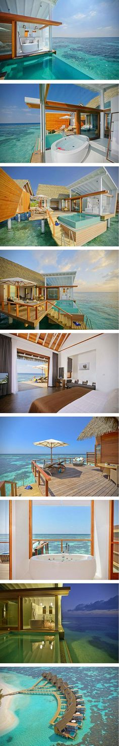 """But since the enchanting resort of Kandolhu Island Resort is """"the best kept secret in the Maldives,"""" we have a hunch this tropical oasis in the Indian Ocean will remain quite secluded.  The tiny island is surrounded by sparkling white sandy beaches, with one of the most beautiful house reefs in the Maldives just a few feet away."""