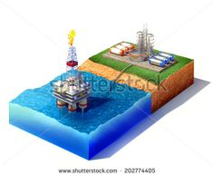 3d rendered illustration of cross section of sea with oil and gas platform in the gulf or the sea, transporting gas or oil on land station. Isolated on white