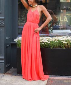 Loving this Coral Open Back Halter Maxi Dress on #zulily! #zulilyfinds