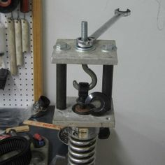 Shock Absorber Spring Compressor - Homemade shock absorber spring compressor constructed from surplus steel plate, 5