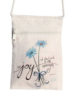 """Cell Phone Purse Joy of the Lord Bible Verse Small Women's or Girl's Cotton Canvas (6""""w X 9""""h), Tote Bag/crossbody Purse with Zipper for Keys, Coins, Candy and Small Items with Free Starfish Pendant."""