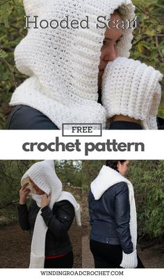 You will love this easy to crochet hooded scarf with pockets to keep your hands warm. Free crochet pattern by Winding Road Crochet.