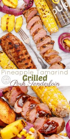 Pineapple Tamarind Grilled Pork Tenderloin | http://thecookiewriter.com | @thecookiewriter | The marinade cannot get any easier than this! Healthy, easy, how to grill pork tenderloin recipe that can be made into sandwiches or little crostini appetizers!