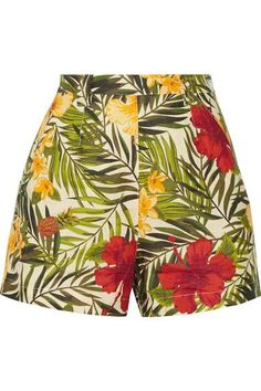Perfect for vacation, Miguelina's 'Joone' shorts are made from airy linen and printed with a vibrant tropical motif. They have a flattering high-rise cut to frame the narrowest part of your waist. Pair yours with the matching bra top.