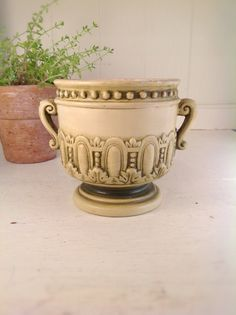 "Victorian Ivory and Olive 4"" Footed Planter on Etsy, $8.00"