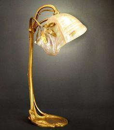 Art Nouveau Nautilus Shell Table Lamp ca.1900