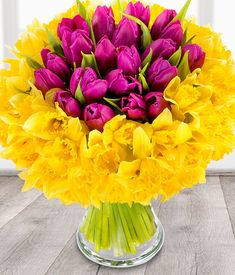 an amazing 100 stem bouquet with 80 daffodils and 20 tulips flowers by post Easter Flower Arrangements, Easter Flowers, Beautiful Flower Arrangements, Tulips Flowers, Daffodils, Fresh Flowers, Bouquet Flowers, Bouquets, Flowers By Post
