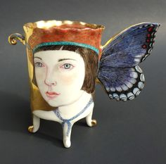 """SMALL BUTTERFLY CUP""(Front) by Irina Zaytceva - Handbuilt porcelain, overglaze painting, 24k gold luster 4 3/4"" x 4 1/4"" x 2"" 'tanseycontemporary.com'<3<3<3"