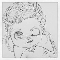 Hey...bom dia! ♡ #blytheart #illustration #sketch #draw #blythedoll #desenho