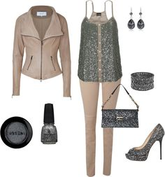 """Taupe and glitter"" by maddie-callen on Polyvore"