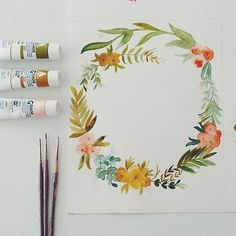 guache, it's what it's all about Art Watercolor, Watercolor Flowers, Wreath Watercolor, Painting Flowers, Painting Inspiration, Art Inspo, Karten Diy, Illustration Art, Illustrations