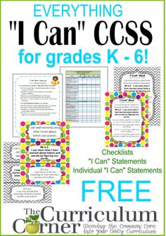 "Interesting article PLUS link to FREE ""I Can"" Statements for K - 6.  How are you progressing in implementing Common Core? In our classrooms, we had no choice but to begin implementation of the Common Core standards. As we were attempting to create resources to help ..."