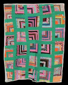 Unknown Quilt Maker Collected in Alabama 68 x 86 inches Circa 1950 Cottons McPherson Collection