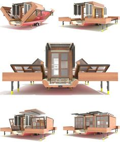 A look at the futuristic design of Mehdi Hidari Badie& Flat-Pack House on Wheels, a throwback to the original flat pack homes of the but modern! Modern Mobile Homes, Mobile Home Living, Mobile House, Tiny House Living, Home And Living, Flat Pack Homes, Casas Containers, Prefab Homes, Tiny Homes