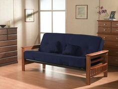 Primo International Providence Complete Futon with Wooden Arms and Pocket Coil Matress with Pillows Cobalt -- Visit the image link more details. Mattress Frame, Futon Frame, Futon Mattress, Mattress Sets, Sleeper Sofa, Sectional Sofa, Sofas, Futon Sets, Modern Futon