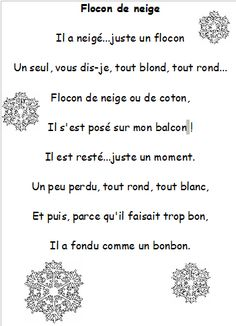 "Poésie ""Flocon de neige"" -- simple rhyming poem about a snowflake that melts French Poems, French Quotes, Christmas Poems, Christmas Concert, French Teaching Resources, Teaching French, French For Beginners, Core French, French Classroom"