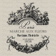 French Paris Flower Market Script Printable Digital Download For Fabric Iron On…