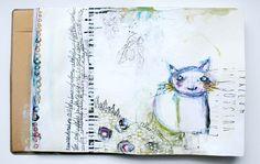 Nov 2015 CD Cat Art Journal Spread, by soapHOUSEmama