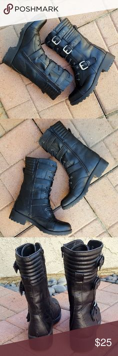 """Motorcycle Style Boots (S) Very stylish lace up and buckle boots . Black """"leather"""" with 1.5"""" rubber chunky heel, adjustable straps with brushed silver buckles and grommets, black laces (in great shape) and inner zipper closure. Mid-calf height at 11"""". Last 4 photos show: outter right boot, small white scuffs at ankle; right boot toe, small indentation; slight heel wear; and very thin trail of shoe glue on same area of both boots. Despite these small imperfections, these boot have lots of…"""