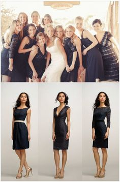 Navy Blue lace ~ Fabulous Mismatched Bridesmaids Looks with Weddington Way  +  Free Dress Giveaway! | bellethemagazine.com