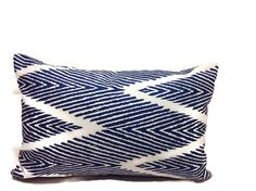 One decorative pillow cover (1)   Blue and White  made of designer-fabric  100% Cotton Fabric Screen printed on cotton slub cloth (has the appearance of