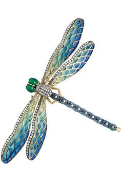 A Diamond and Enamel Dragonfly Brooch  Designed as a dragonfly with polychrome enamel head and body, plique-a-jour enamel wings, in various shades of blue, green and yellow, and accented by small round diamonds, mounted in silver and 18k gold