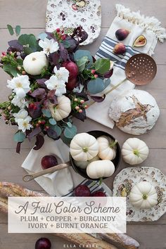 fall home decor Copper, burgundy, deep plum purple, creamy white, and burnt orange color scheme for unique autumn decor and fall style. An elegant color pallette for Fal highlighting ivory pumpkins. Fall Kitchen Decor, Fall Home Decor, Autumn Home, Warm Autumn, Fall Color Schemes, Orange Color Schemes, White Pumpkins, Fall Pumpkins, Halloween Table