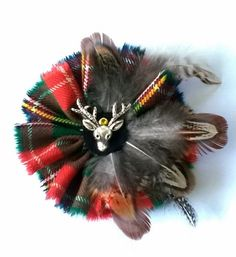 d7338bf543a Items similar to Scottish fabric Tartan Brooch Scottish Corsage with the  McLean plaid dressed with pheasant feathers on Etsy
