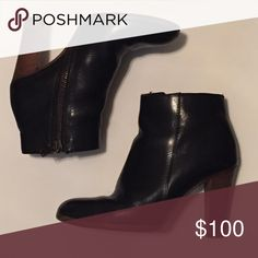"""Madewell Ankle Boots Classic black leather ankle boots from Madewell. 3.75"""" stacked heel and convenient side-zip closure. Pre-loved condition - there are signs of wear on the bottoms (heels have recently been re-tipped by the cobbler and should last a long time). Leather is lightly broken in but still looks great! Comes with original box. Really comfortable! Only selling because I have too many black ankle boots. Madewell Shoes Ankle Boots & Booties"""