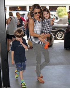 Separated mother-of-two: Not seen with the Austenland actress Tuesday were her two children - son River, 7, and daughter Willa, 2 - with estranged husband, carpenter Shane Deary