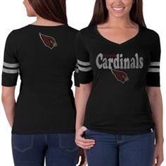 Arizona Cardinals '47 Brand Women's Pro Flanker Stripe T-Shirt – Black