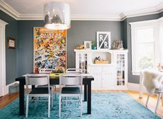 that rug + wall color. Paint / GUNMETAL by benjamin moore