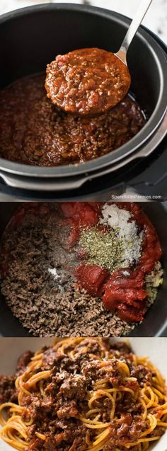 This Slow Cooker Spaghetti Bolognese recipe from Spend with Pennies will make Italian Mamas proud.s so incredibly delicious and the meat is so tender it melts in your mouth. Crockpot Dishes, Crock Pot Slow Cooker, Crock Pot Cooking, Slow Cooker Recipes, Beef Recipes, Italian Recipes, Cooking Recipes, Italian Sauces, Crockpot Ideas