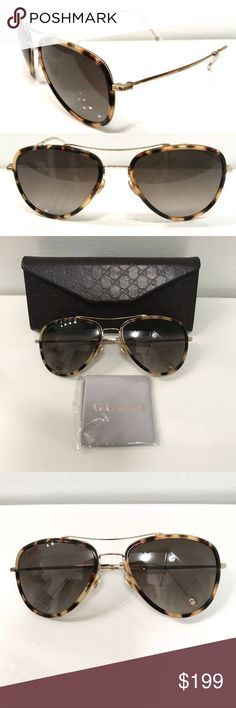 Gucci aviator tortoise frame sunglasses Ruthenium metal with dark tortoiseshell acetate frame 100% UVA/UVB protection Branding down each side of the arm and top right corner of lens. Made in Italy. Measurements: Width of frame 13.5cm Width of lens 6cm Length of lens 4.8cm Lens color: Gradient black Gucci Accessories Sunglasses