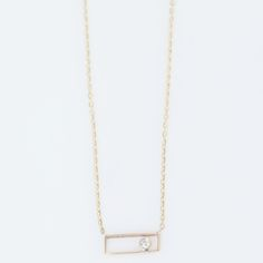 Vale - 14K Gold Rectangle with Diamond Necklace